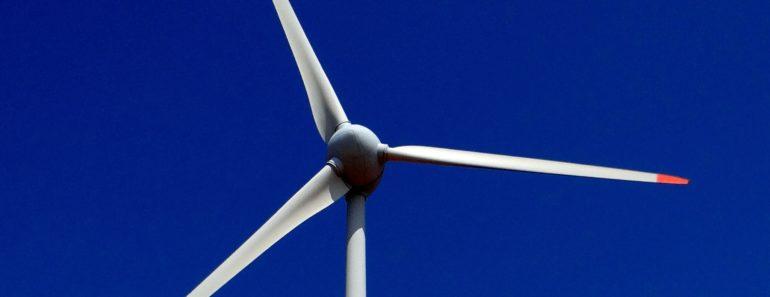 A wind turbine close up