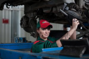 A female car mechanic