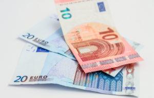 Three Euro bank notes