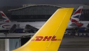 A DHL courier cargo plane