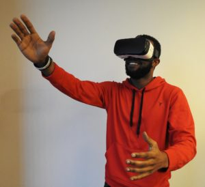 Wearing a Samsung Gear VR headset