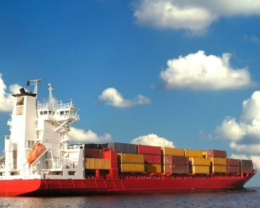 A container ship loaded with cargo