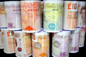 Pound money boxes stacked up