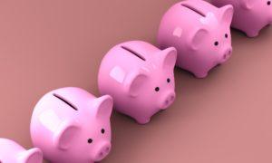 A row of piggy banks