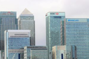Banks in Canary Wharf, London