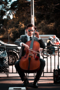 Playing cello on the street
