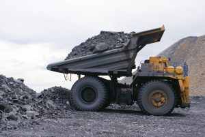 A dumper truck for coal mining