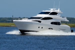 A luxury yacht cruising