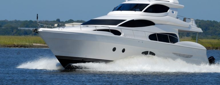 A luxury yacht cruising