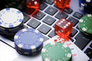 Online gaming with dice and gambling chips