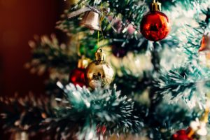 Christmas tree and festive baubles