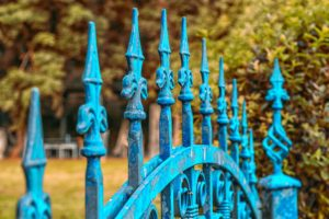 An iron garden fence and gate