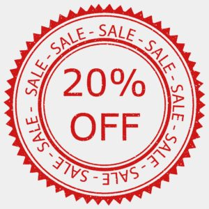 A 20% sale graphic