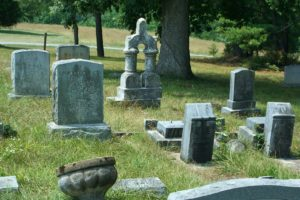 Tomb stones in a cemetery