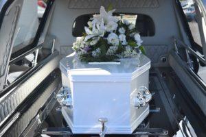 A coffin in a hearse