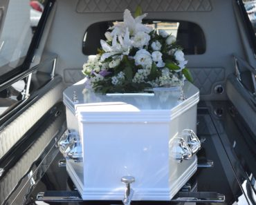 A coffin in a hearse