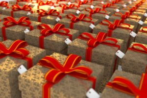Many Christmas presents wrapped identically