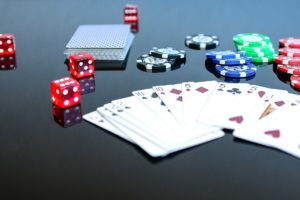 Playng Poker with cards and betting chips
