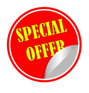 A special offer sticker