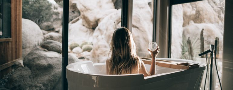 Enjoying a bath in a luxury bathroom