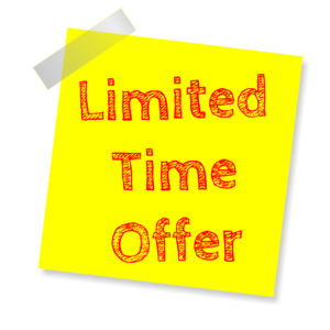A limited time offer label
