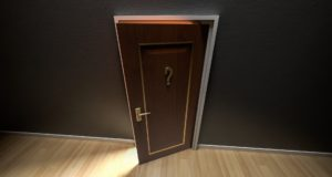 An open door and a question mark