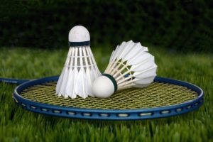 Badminton shuttlecocks and a raquet