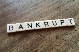 Bankrupt written in scrabble letters
