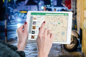 Using a map app on an ipad