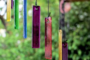 Wind chimes made from coloured glass