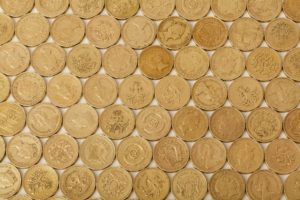 Pound coins arranged in a pattern