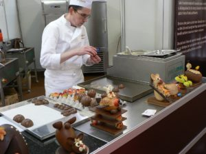 A Chocolatier making chocolates