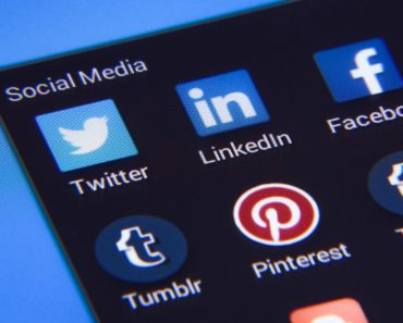 Social media icons displayed on a screen