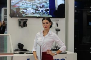Woman attending an exhibition stand