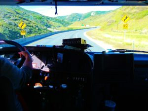 A truck driver in his cab
